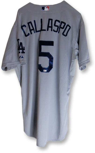 Alberto Callaspo Team Issue Jersey Dodgers Road Gray 2015 #5 MLB HZ533428