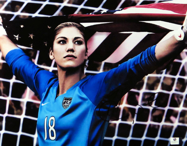 Hope Solo Signed Autographed 11X14 Photo Team USA Gold Medal w/Flag GV848315
