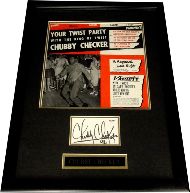 Chubby Checker Autograph Signed Cut Custom Framed With Record Cover PSA/DNA