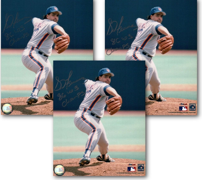 """3 Count Lot of Sid Fernandez Signed 8X10 Photo Autograph Mets """"86 WS Champs"""" COA"""