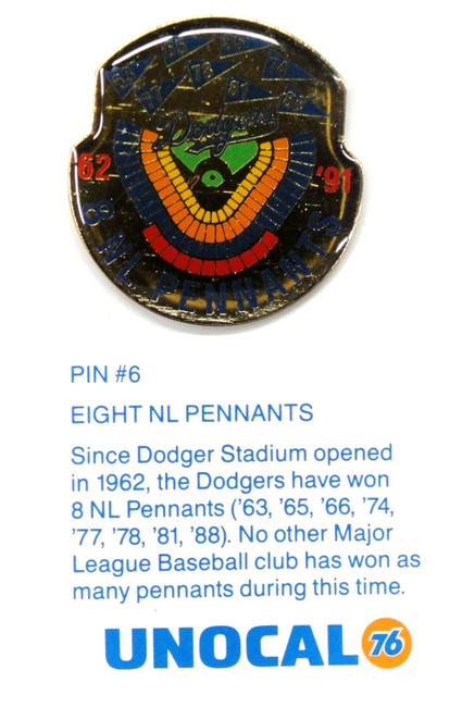 1 Pin- 8 National League Pennants Since Opened Los Angeles Dodgers Unocal 76 Pin