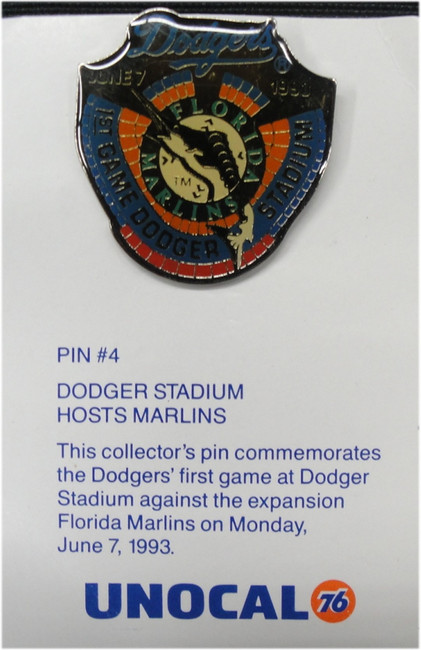 1 Pin - Dodger Stadium Hosts Marlins - Los Angeles Dodgers Unocal 76 Pin