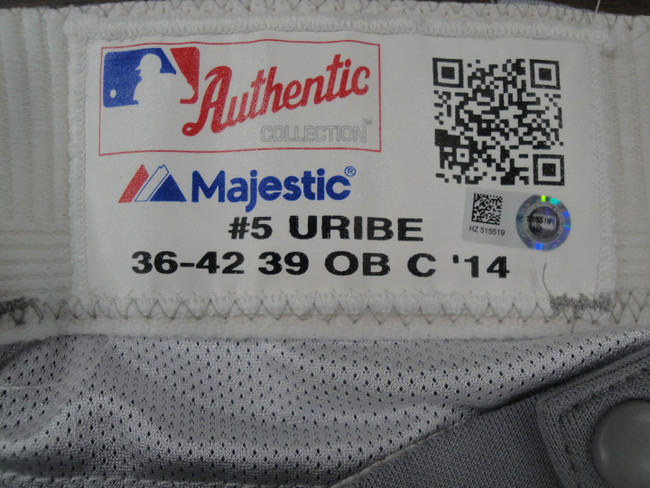 Juan Uribe Major League Baseball Dodgers Team Issued Road Baseball Pants 5519