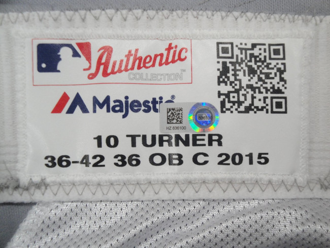 Justin Turner #10 MLB LA Dodgers Team Issue Road Baseball Pants 2015 HZ 836100