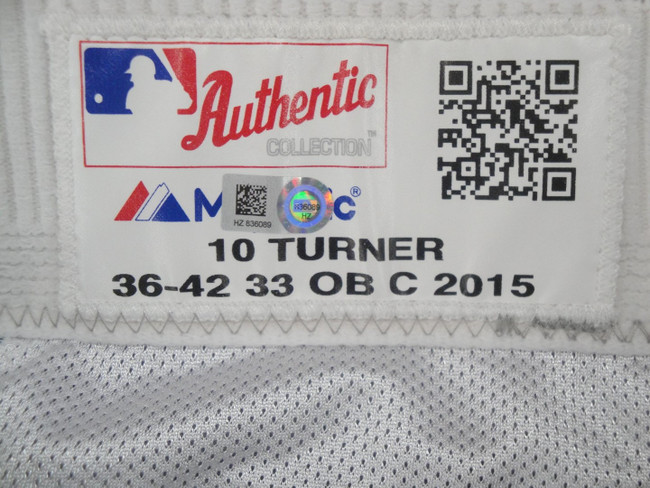 Justin Turner #10 MLB LA Dodgers Team issued Road Baseball Pants 2015 HZ 836089