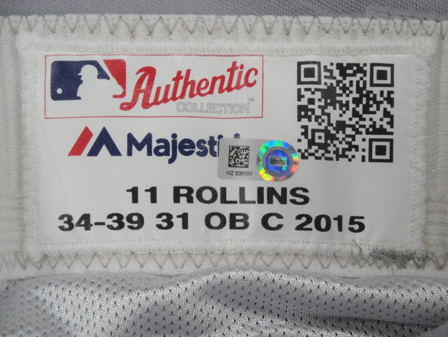 Jimmy Rollins #11 MLB LA Dodgers Team issued Road Baseball Pants 2015 HZ 836101