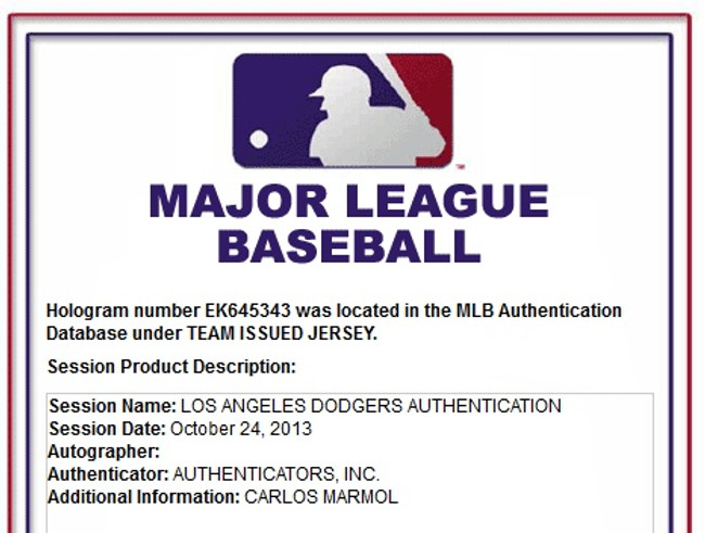 98c7d8449 Carlos Marmol Team Issued Jersey LA Dodgers Road 2013 Playoff #49 MLB Holo