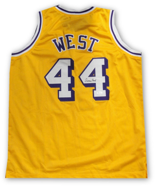 Jerry West Hand Signed Autographed #44 Yellow Jersey Los Angeles Lakers JSA
