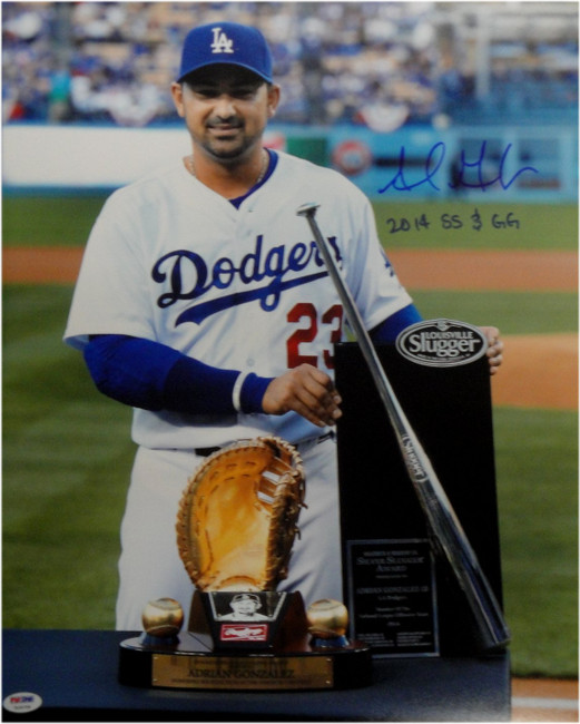 Adrian Gonzalez Autograph 16X20 Photo Dodgers Gold Glove/Silver Slugger PSA/DNA