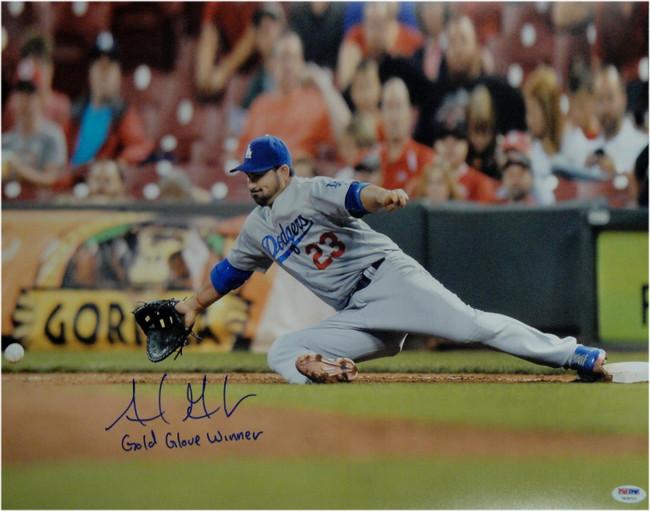 Adrian Gonzalez Autographed 16X20 Photo Dodgers Gold Glove Glove WinnerPSA/DNA