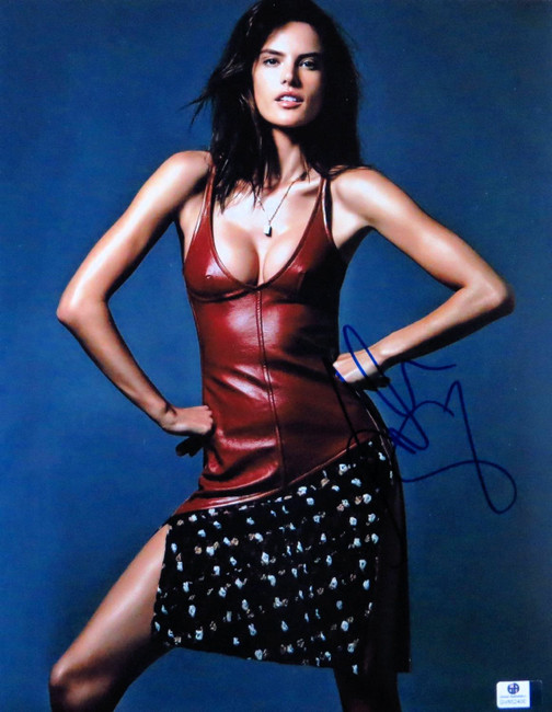 Alessandra Ambrosio Autographed 11X14 Photo Sexy Gorgeous Red Leather GV852400