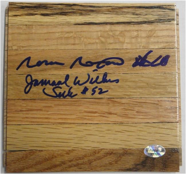 Jamaal Wilkes Norm Nixon Hand Signed Piece of Wood Floorboard LA Lakers Floor