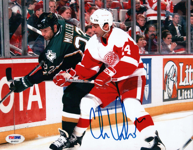 Chris Chelios Signed Autographed 8X10 Photo Detroit Red Wings PSA Q14212