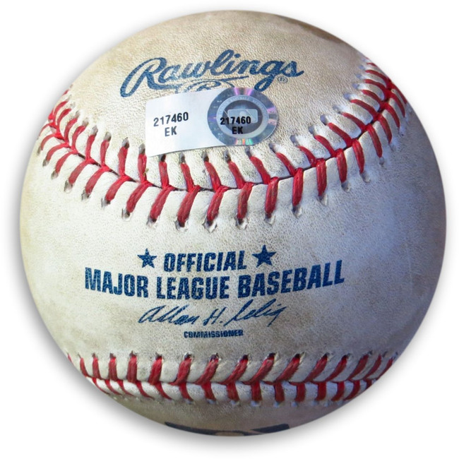 A.J. Ellis Game Used Baseball 5/28/13 Dodgers Hit RBI Single vs Blanton EK217460