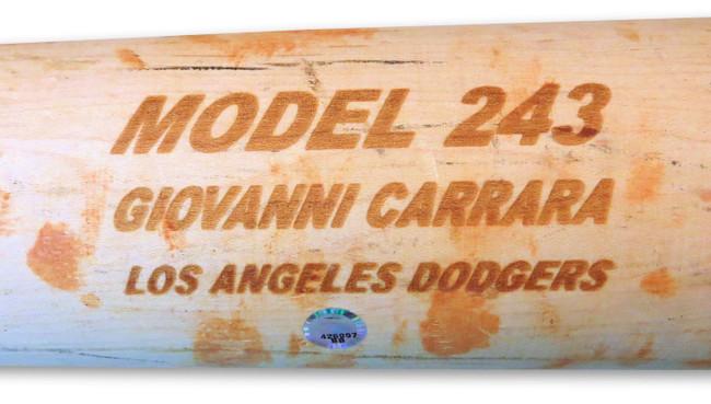 Giovanni Carrara Team Issued Max Bat Broken Los Angeles Dodgers  BB426997