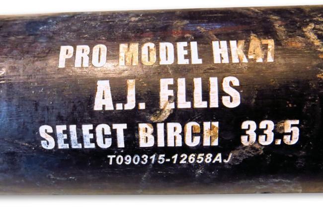 A.J. Ellis Player Used Trinity Bat Los Angeles Dodgers Pro Model Black JB085546