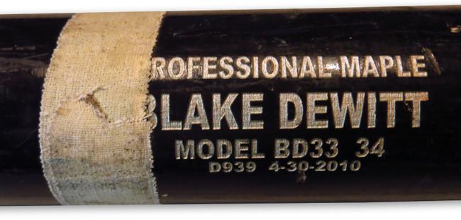 Blake Dewitt Game Used Pro Model Bat Broken Dodgers Base Hit 06/07/10 LH955756