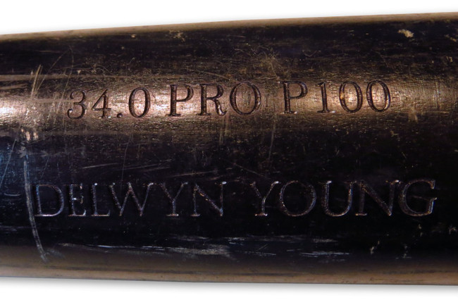 Delwyn Young Game Used Old Hickory Bat Broken LA Dodgers 07/10/08 LH024759