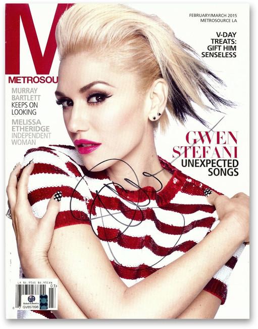 Gwen Stefani Signed Autographed Metrosource Magazine No Doubt The Voice GV857896