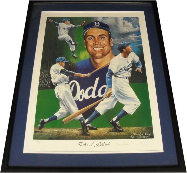 Duke Snider Hand Signed Autographed 18x24 Custom Framed Photo LA Dodgers COA