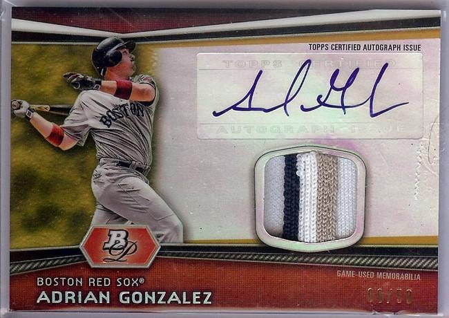 Adrian Gonzalez 2012 Bowman Platinum 3 Color Patch/Autograph Padres #AR-AG 09/50