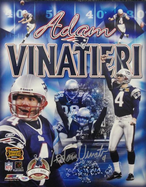 Adam Vinatieri Signed Autographed 16X20 Super Bowl Champion Collage PSA 42/50