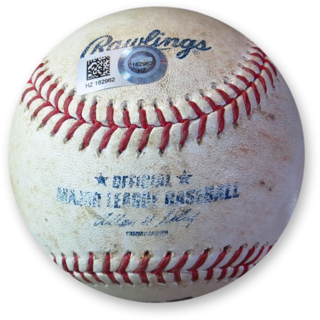 Abraham Almonte Game Used Baseball 8/20/14 Hit Single vs. Baez Padres HZ162962