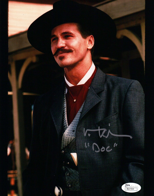 """Val Kilmer Hand Signed Autographed 8x10 Photo Tombstone """"DOC""""  Silver Ink JSA"""