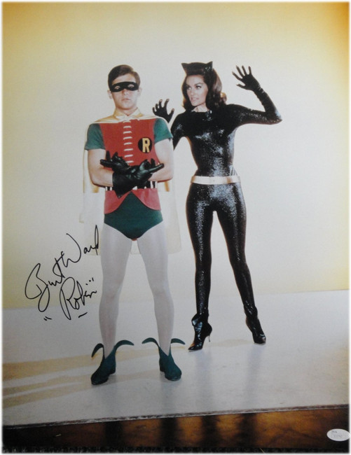 "Burt Ward Hand Signed Autographed 16X20 Photo Batman ""Robin"" w/ Cat Woman JSA"