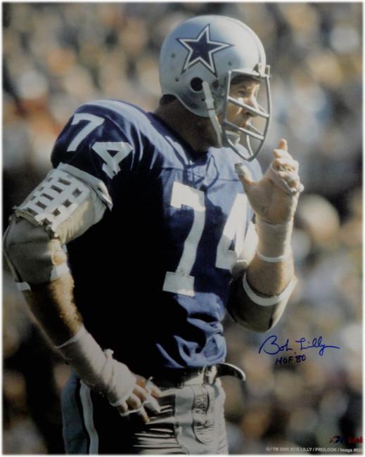 Bob Lilly Hand Signed Autographed 16x20 Photo  Cowboys HOF 80 W/ COA