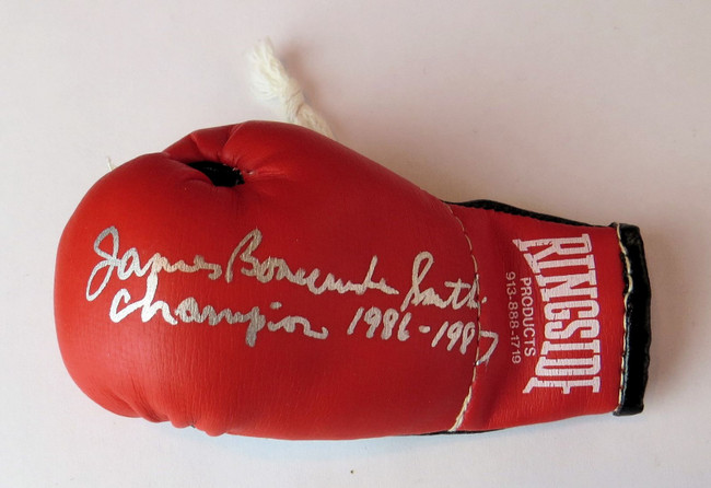 James Bonecrusher Smith Signed Autographed Mini Boxing Glove Inscribed GV819123