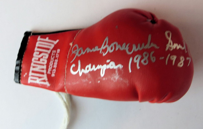 James Bonecrusher Smith Signed Autographed Mini Boxing Glove Inscribed GV819124
