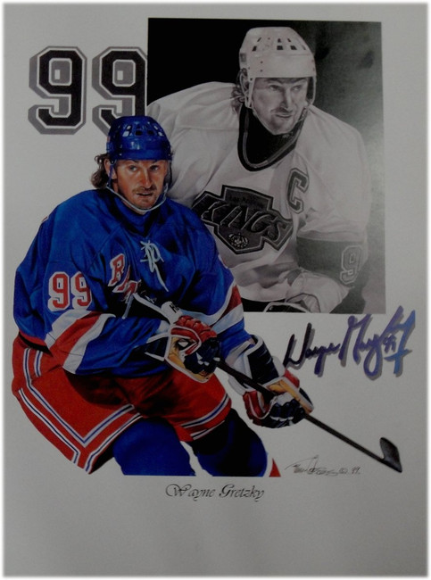 Wayne Gretzky Unsigned 18x24 Poster New York Rangers LA Kings Some Corner Damage