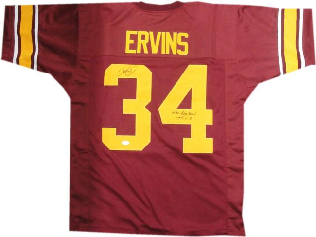 Ricky Ervins Hand Signed Autographed USC Trojans Jersey 1990 Rose Bowl #34 JSA