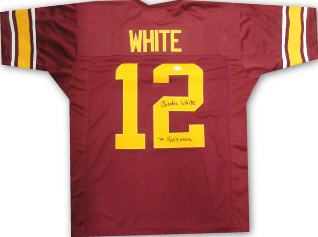 Charles White Hand Signed Auto Football Jersey '79 Heisman Fight On USC JSA