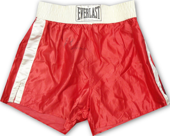 George Foreman Hand Signed Autographed Red Boxing Trunks JSA U07903