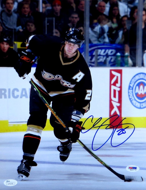 Chris Pronger Signed Autographed 11X14 Photo Anaheim Ducks Shooting JSA U76146
