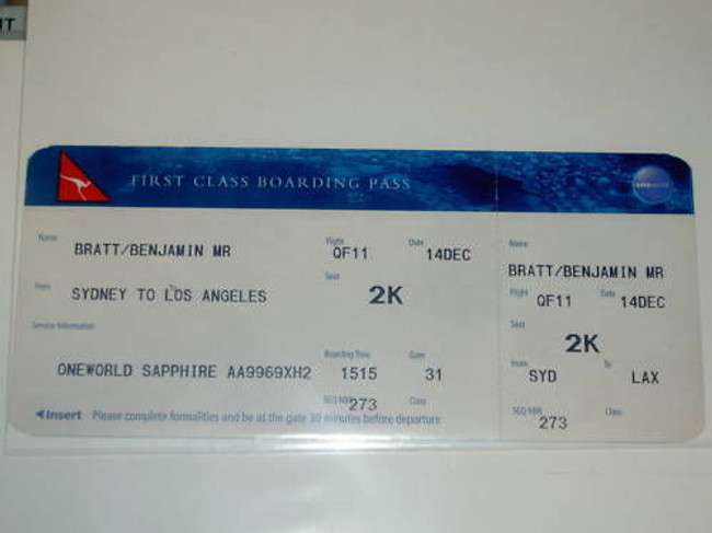 Benjamin Bratt Original Boarding Pass From Lax Airport!