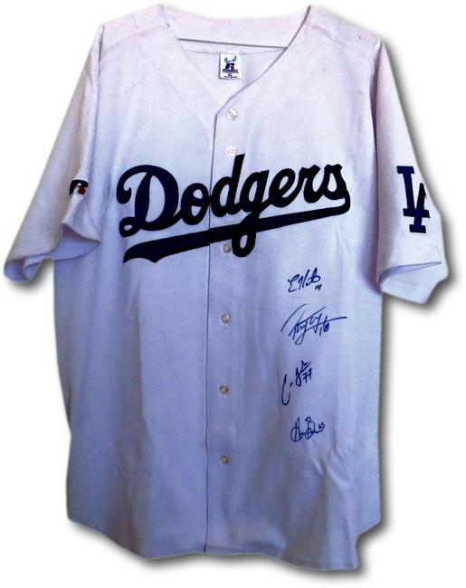 Barnes Frias Peraza Hernandez Autographed Jersey Dodgers White Jersey HOF COA