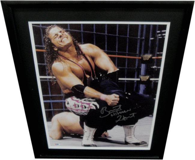 Bret The Hitman Hart  Hand Signed Autographed 16x20 Photo Framed PSA 3A60460