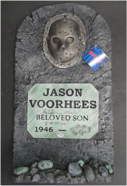 Ari Lehman Friday the 13th Signed Autographed Toy Tombstone Jason Voorhees JSA
