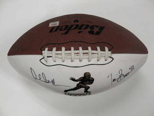 Archie Griffin Tim Brown Hand Signed Autographed Football White Panel Raiders