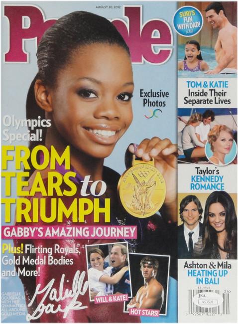 Gabby Douglas Autographed People Magazine Olympics Holding Gold Medal JSA 53591
