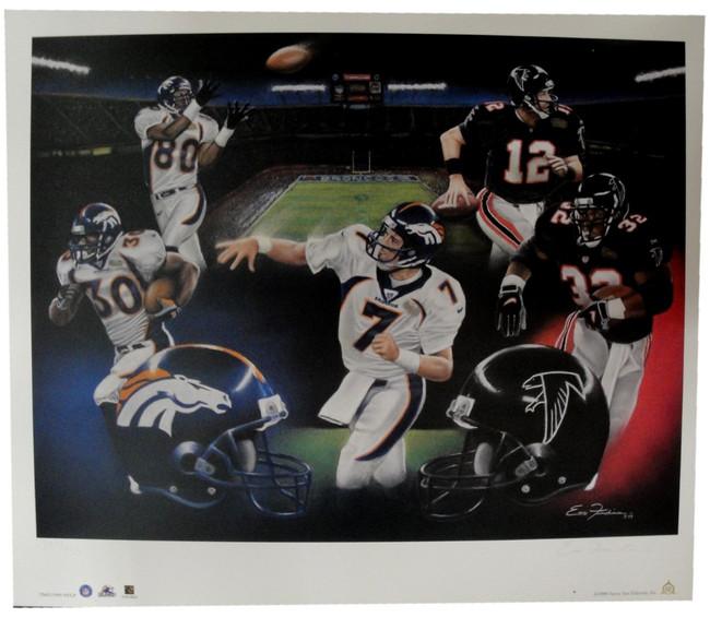 Denver Broncos Atlanta Falcons Super Bowl 19 X 24 Lithograph Poster John Elway