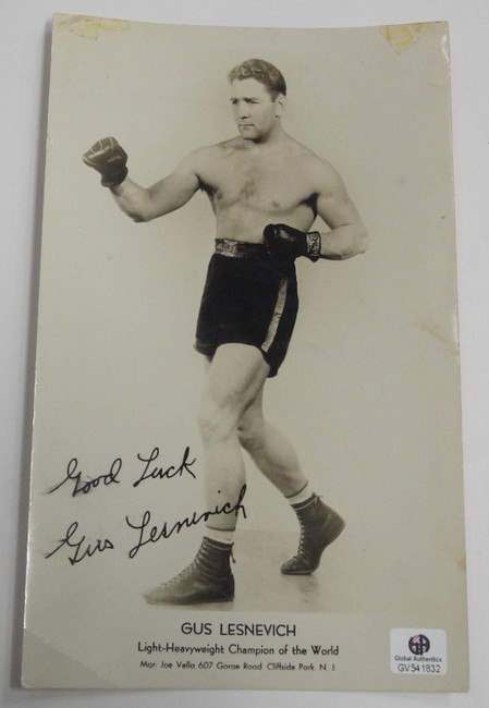 Gus Lesenevich Signed Autographed 8x10 Vintage Boxing Photograph Photo GAI COA