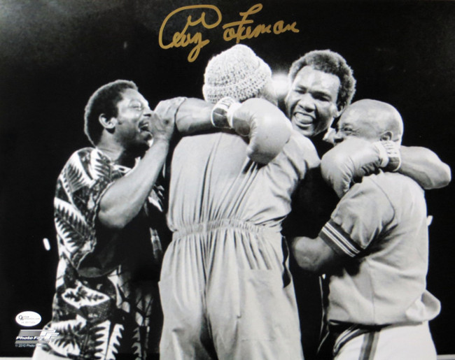 George Foreman Signed Autographed 11X14 Photo Vintage Post Fight Hug OA