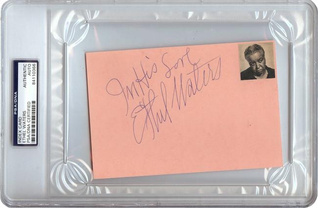 Ethel Waters Signed Autographed 4X6 Index Card Vintage 1969 Auto PSA/DNA Encased