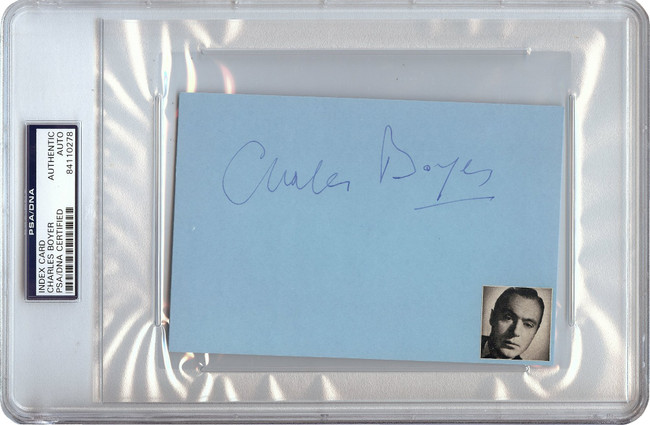 Charles Boyer Signed Autographed 4X6 Index Card 1966 Vintage Auto PSA/DNA