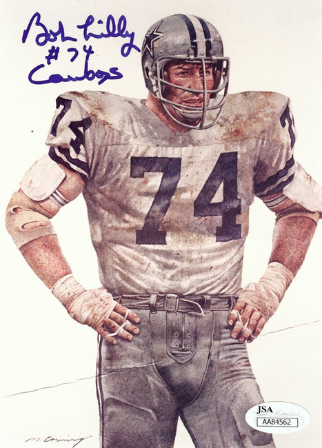Bob Lilly Team 5X7 Postcard  Cowboys #74 Crease JSA AA84562
