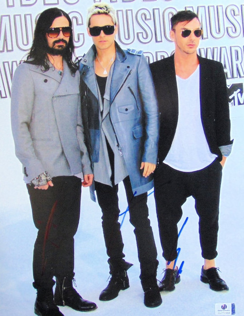 30 Seconds to Mars Band Signed Auto 11X14 Photo Jared Shannon Leto GV731994